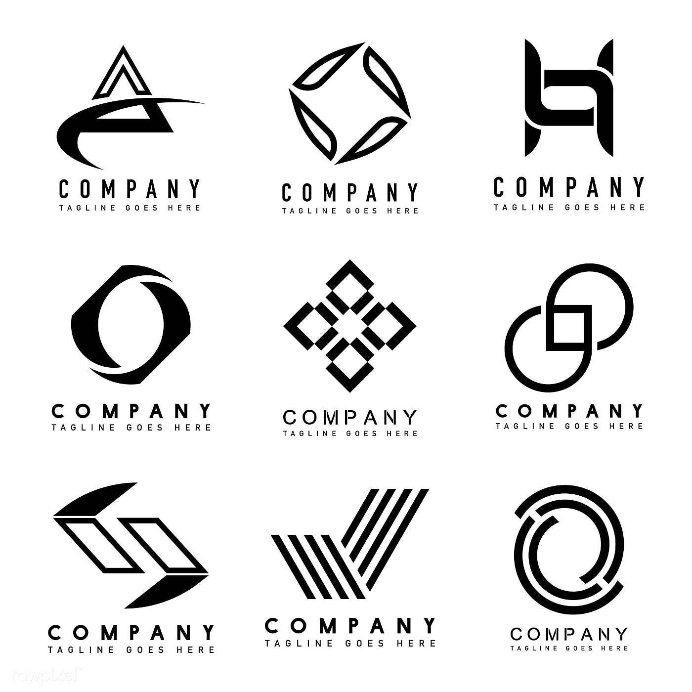 Download premium vector of Set of company logo design ideas vector 496386