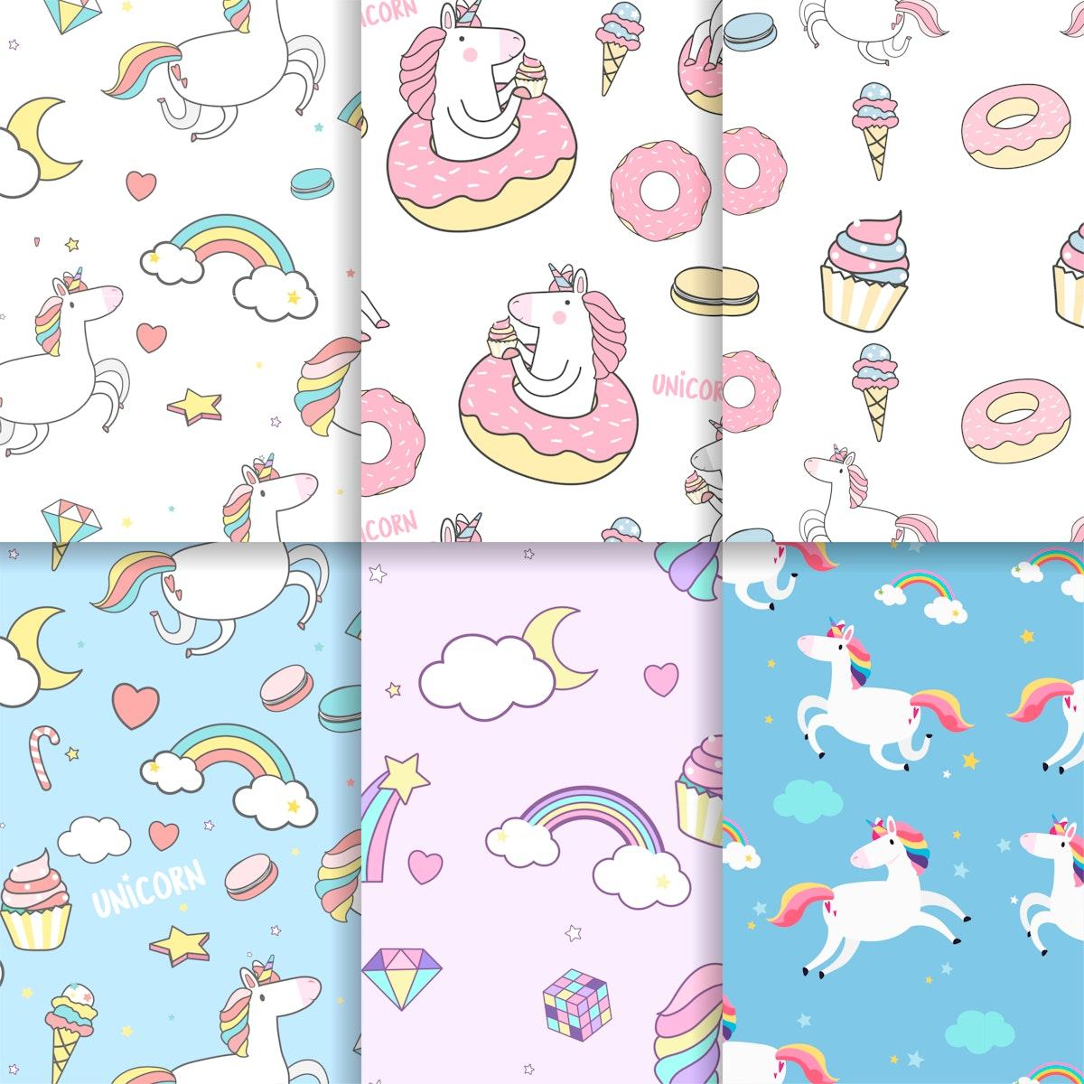 Colorful unicorn seamless pattern background vectors