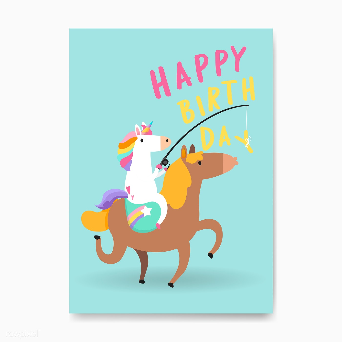 Happy Birthday Unicorn Card Vector