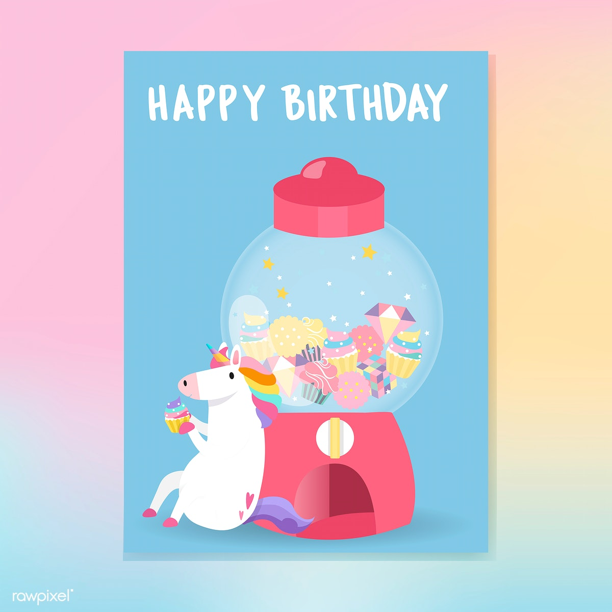 Cute Unicorn Happy Birthday Card Vector