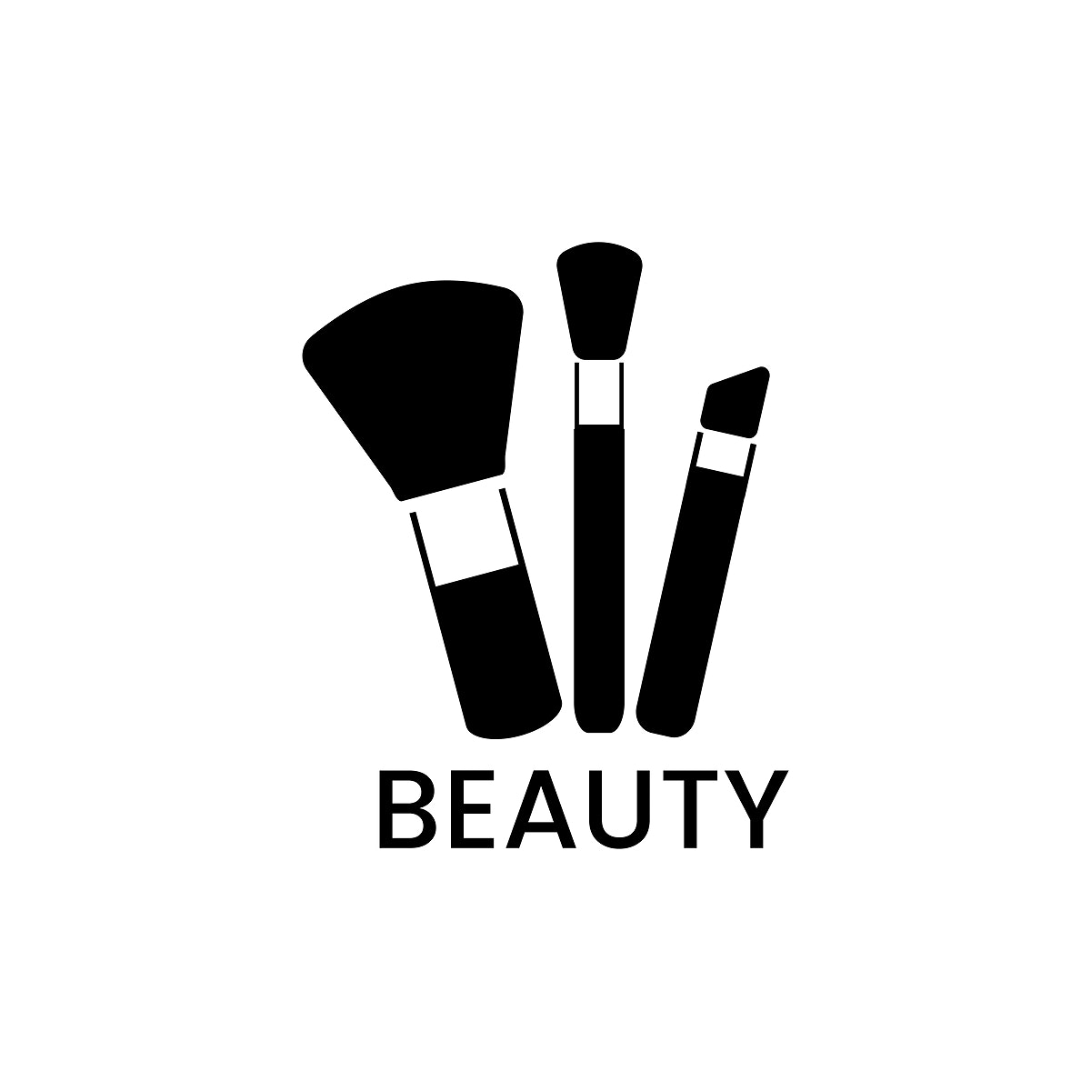 Black makeup brushes icon cosmetic vector