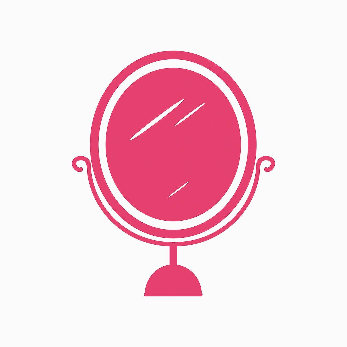 Pink mirror icon cosmetics vector