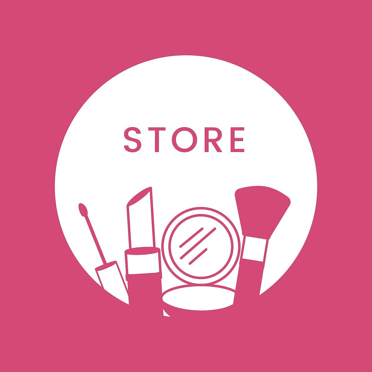 White beauty store logo cosmetics vector