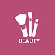 White makeup brushes icon cosmetic vector