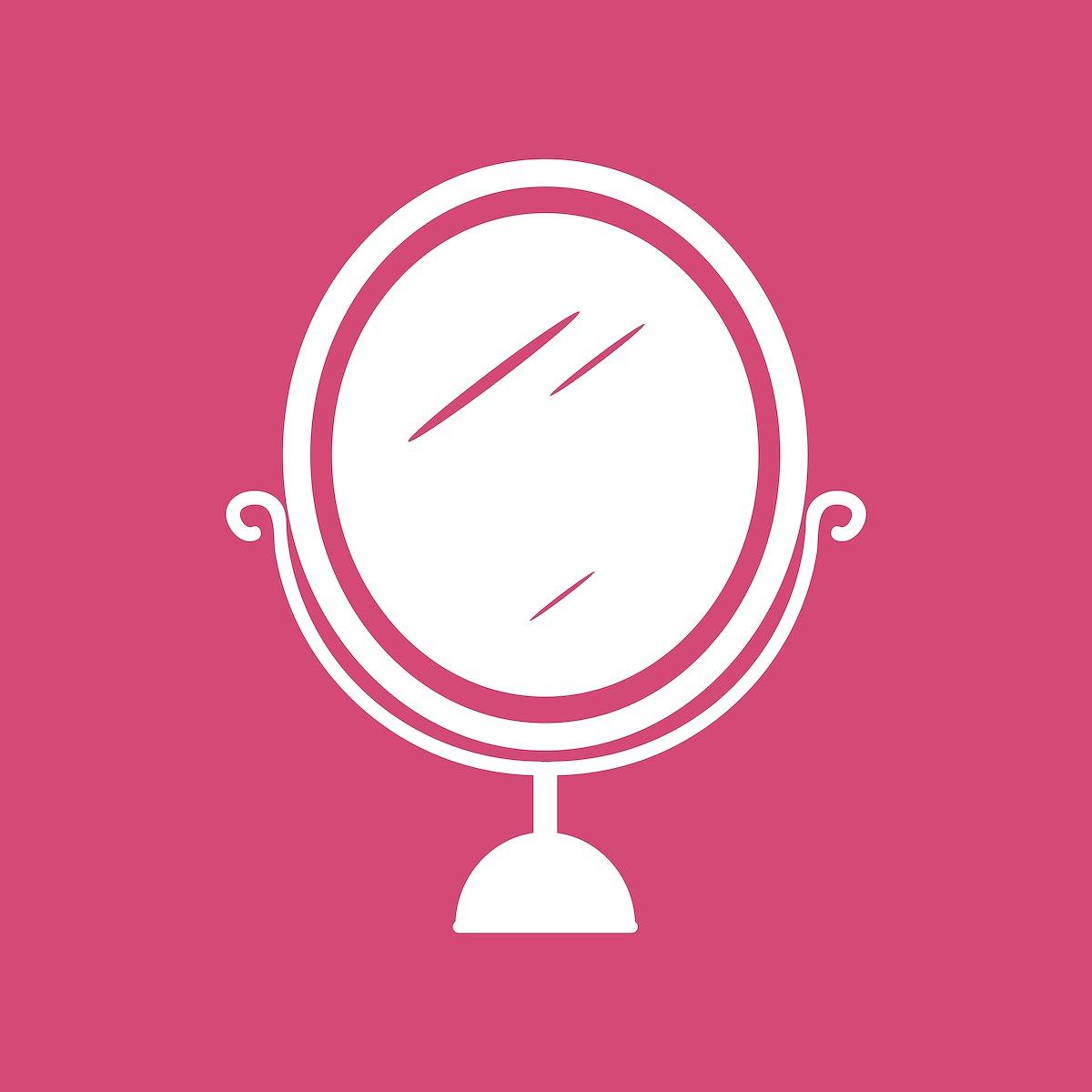White mirror icon cosmetics vector