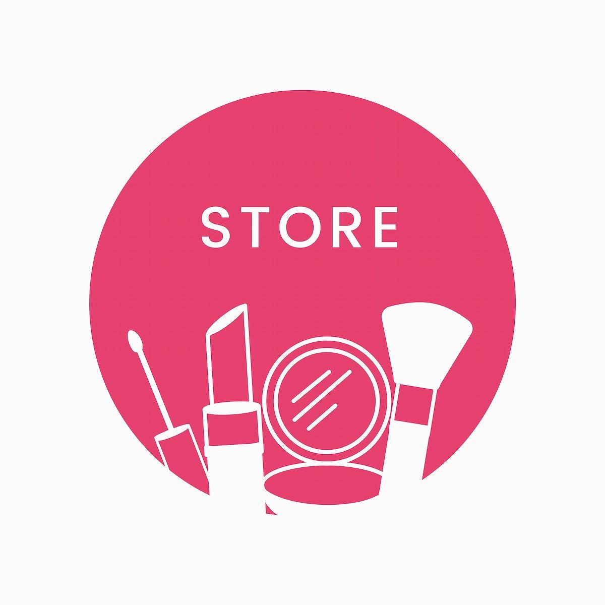 Pink beauty store logo cosmetics vector