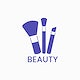 Blue makeup brushes icon cosmetic vector