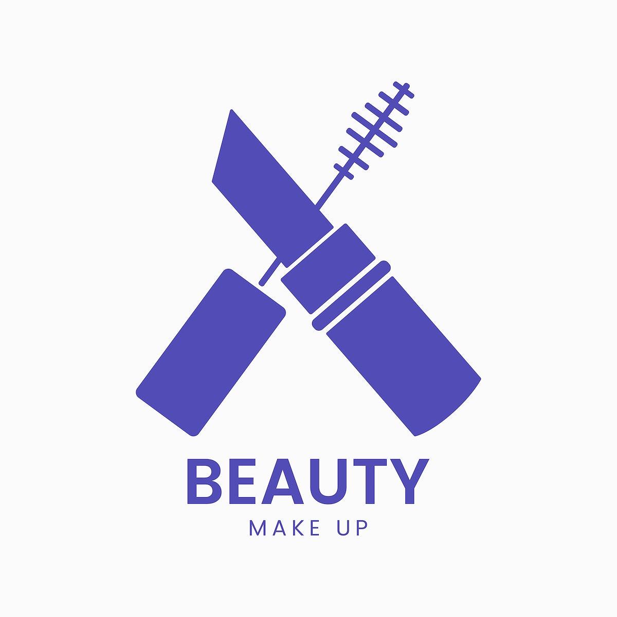 Blue mascara icon cosmetics vector