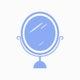 Blue mirror icon cosmetics vector