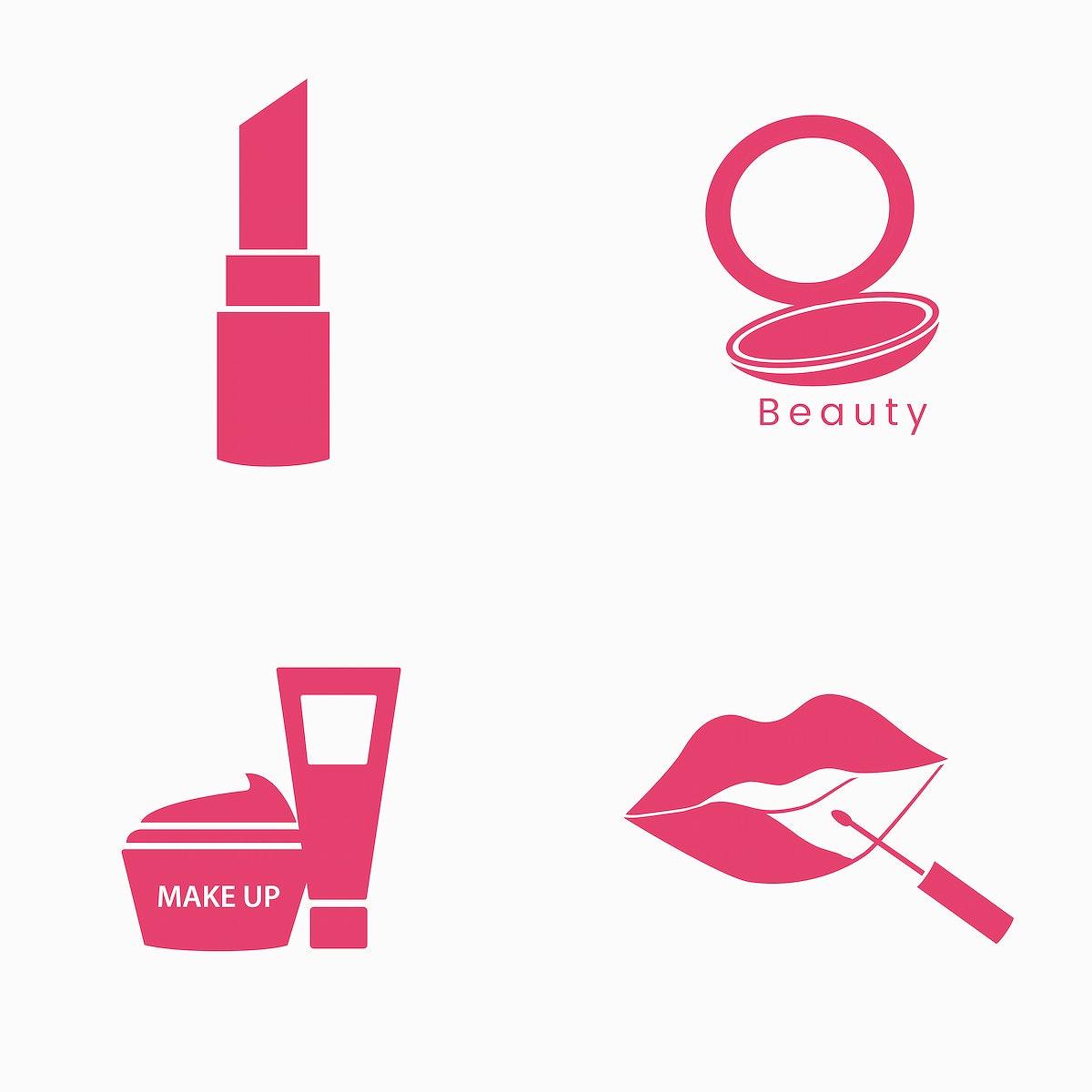 Beauty cosmetics icon set