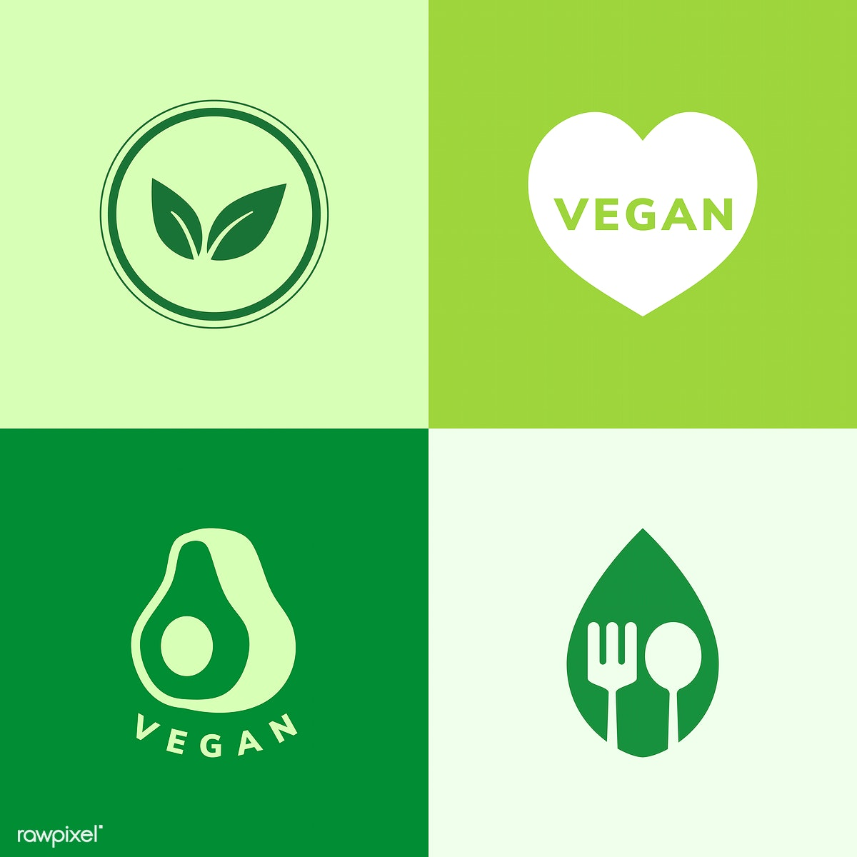 Collection of vegan icon vectors | Free stock illustration