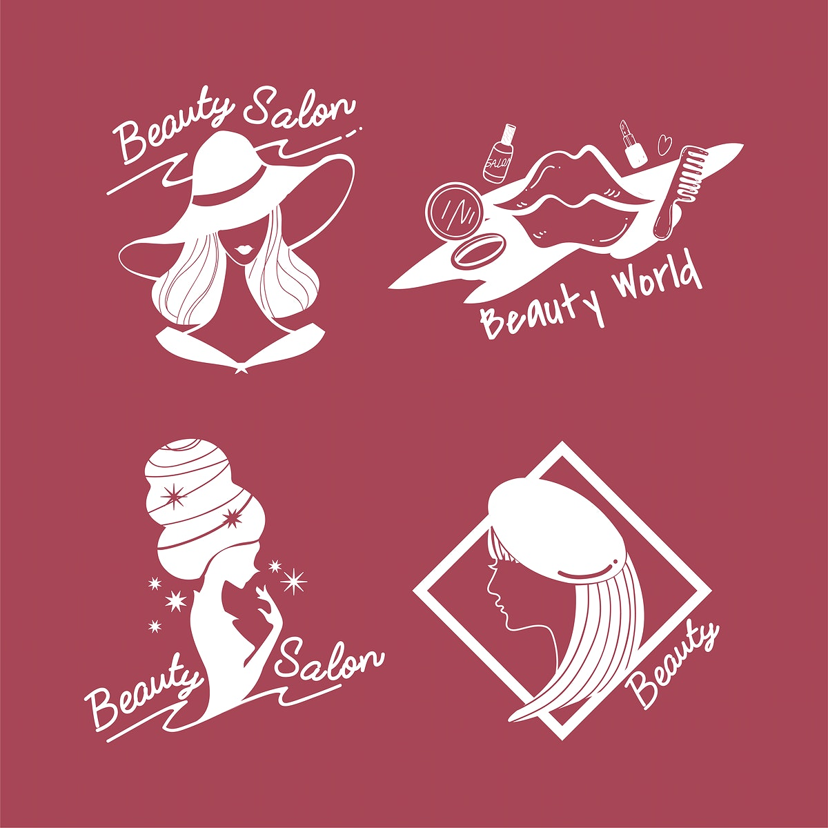 Set of women's beauty and style icons vector