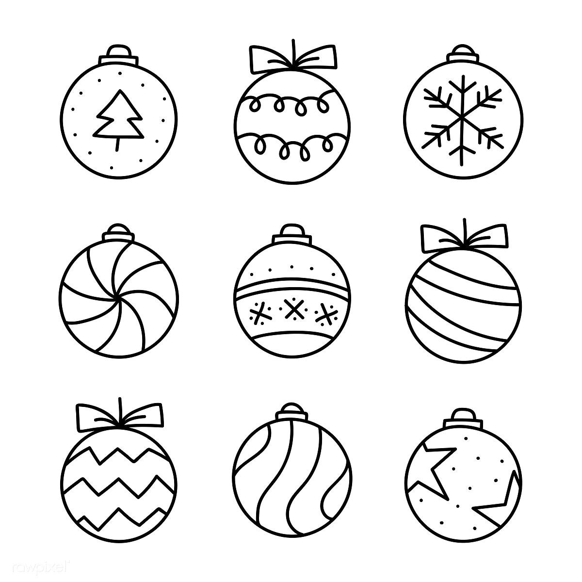 Drawings Of Christmas Ornaments.Download Premium Illustration Of Christmas Baubles Drawing Doodle Style