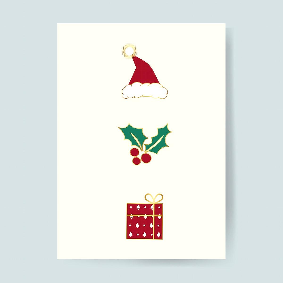 Christmas card with festive designs vector