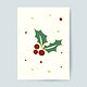 Christmas card with holly leaves vector