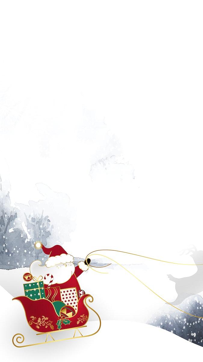 Santa Claus riding his sleigh on winter background vector