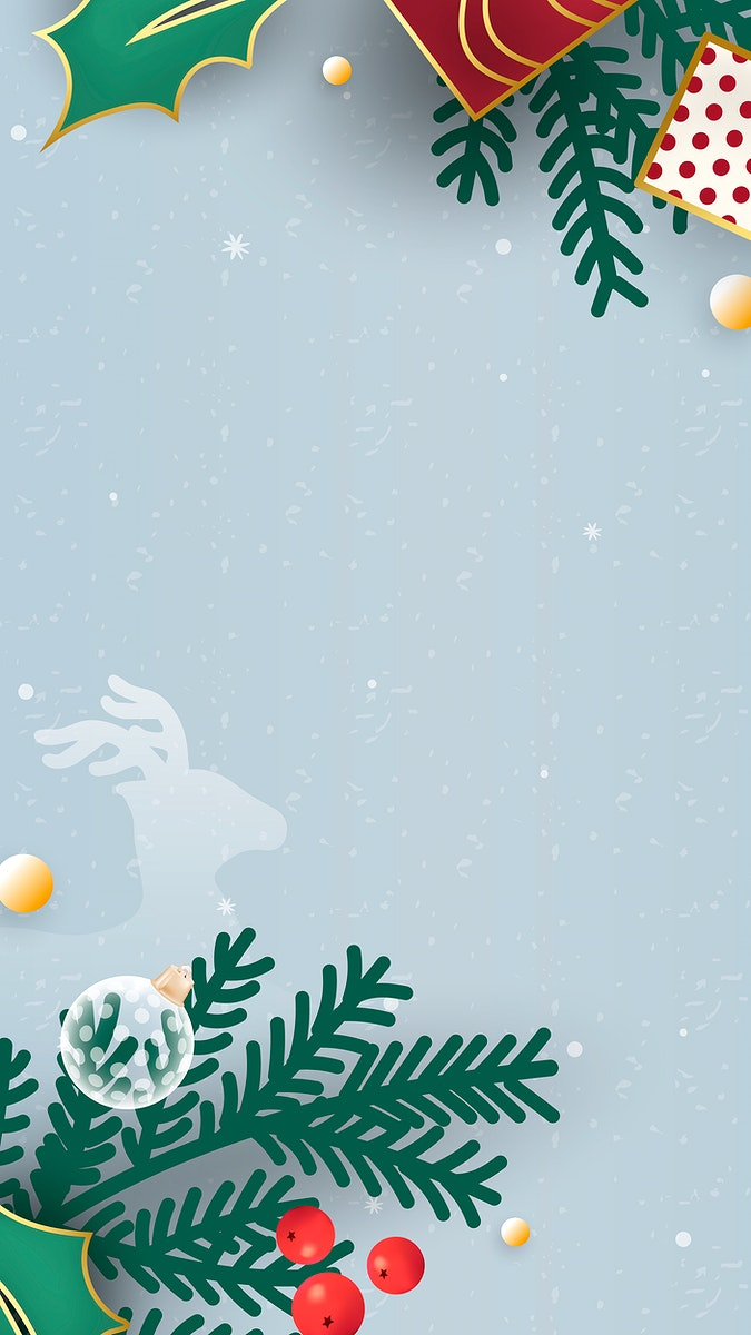 Christmas doodle on light blue background mobile phone wallpaper vector