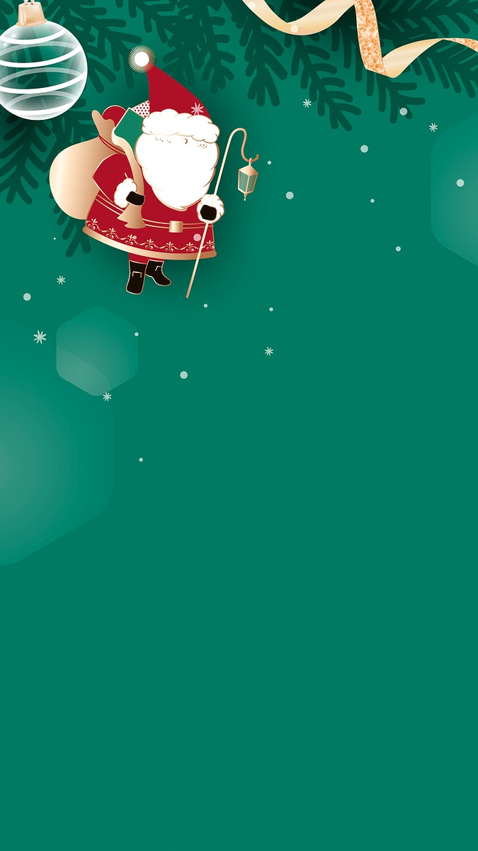 Christmas doodle on green background mobile phone wallpaper vector