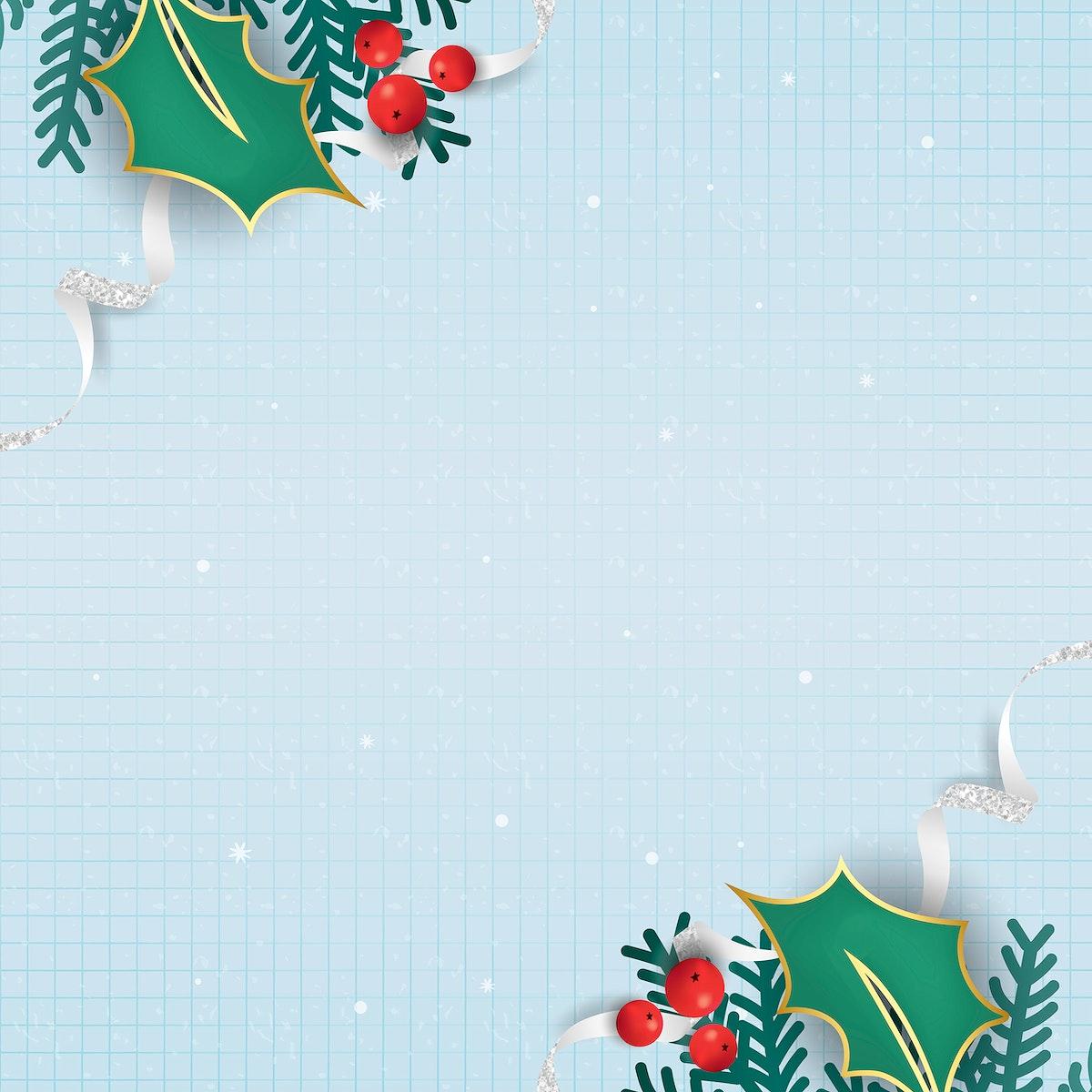 Christmas doodle on light blue notepaper background vector