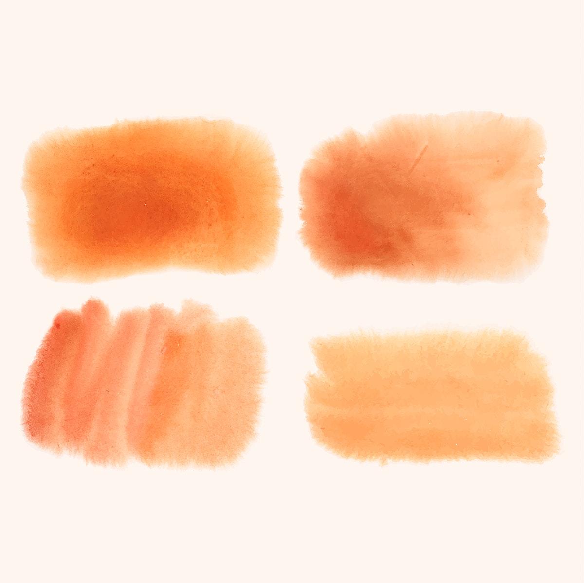 Orange watercolor banner vector set