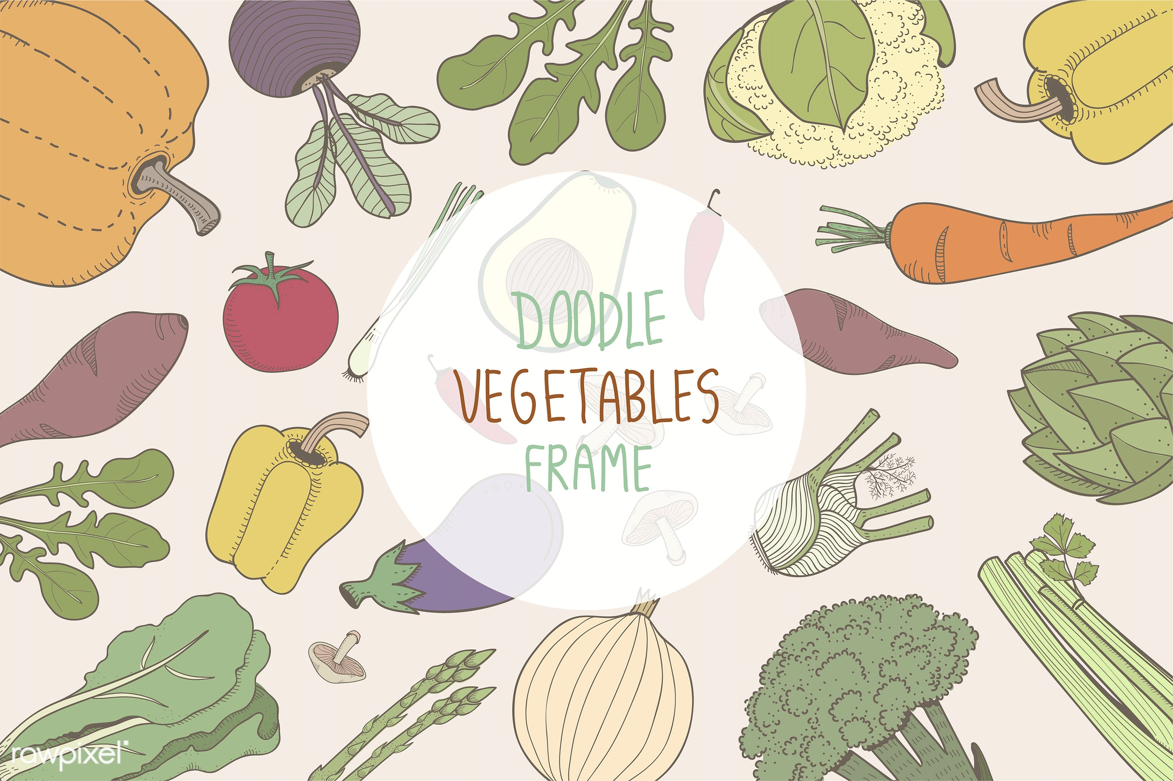 collection, design, doodle, farmers, food, graphic, illustration, isolated, organic, set, vector, vegan, vegetable,...