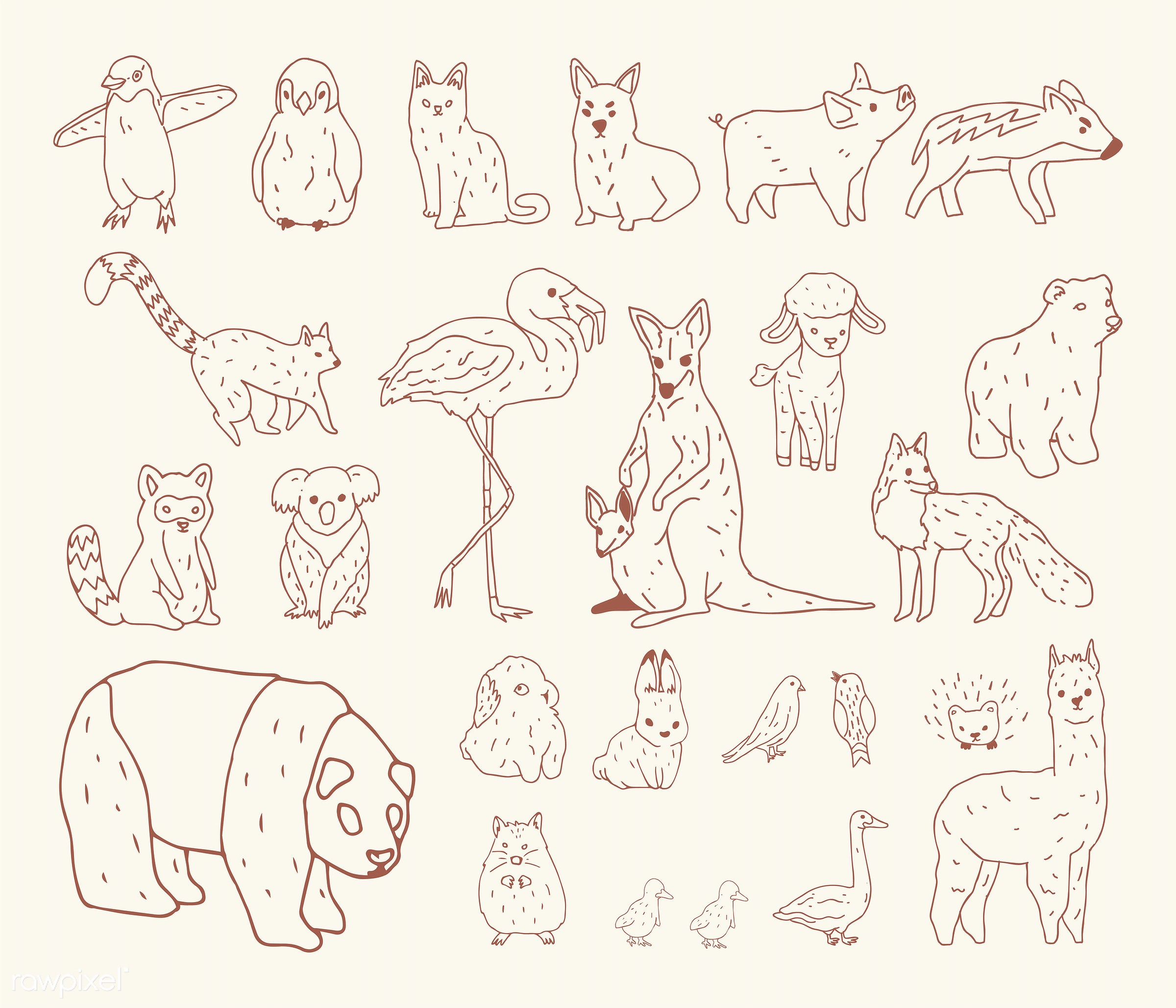 Vector of various types of animals - animals, cartoon, character, collection, doodle, drawing, graphic, illustration,...