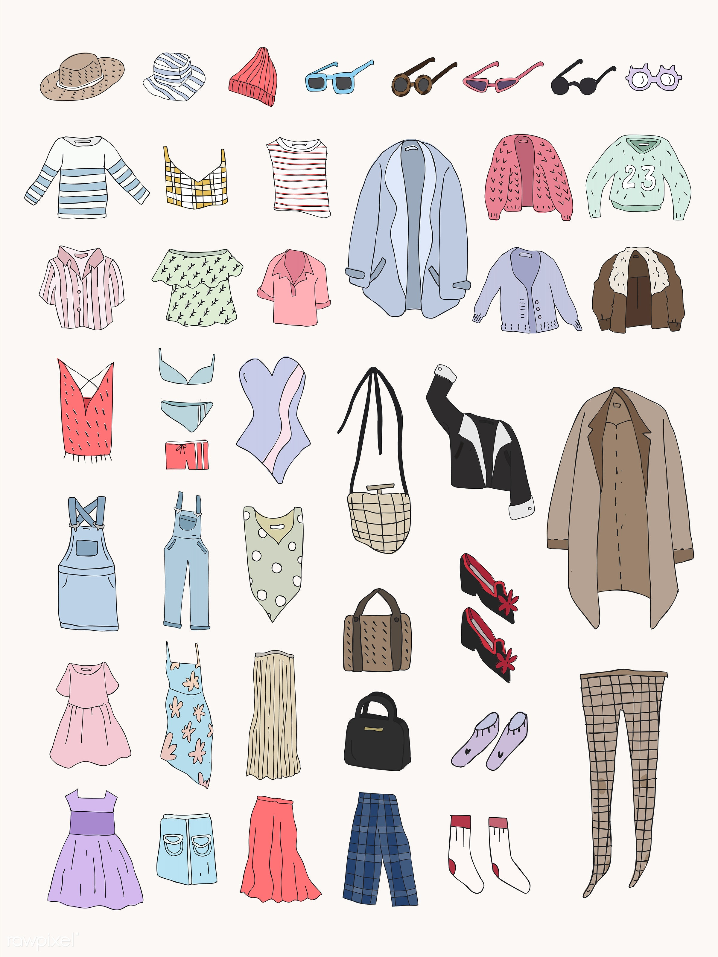 Vector of different types of clothes - apparel, clothes, clothing, collection, doodle, fashion, icon, illustration, set,...