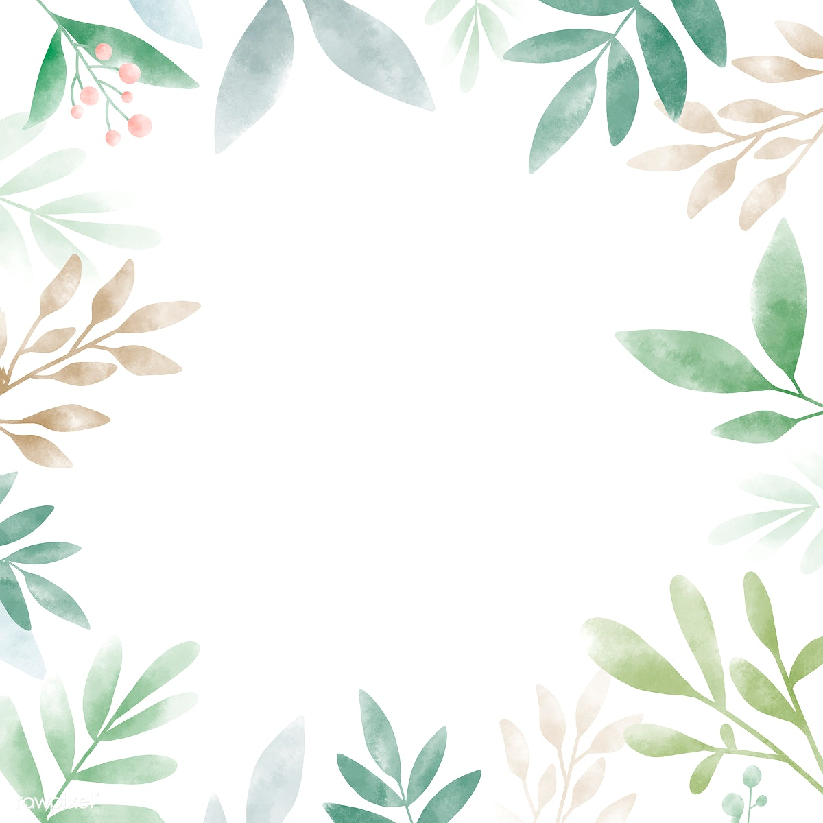 d3b9b2d7023c Download premium illustration of Watercolor leaves with copy space design