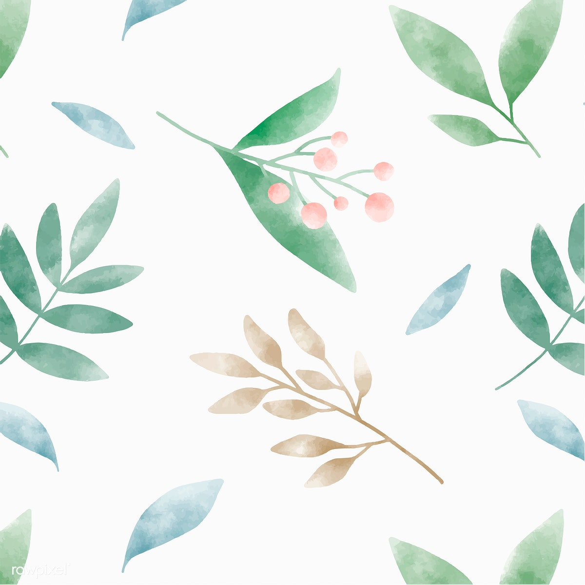 483aedee7fe7 Download premium illustration of Watercolor leaves graphic pattern design