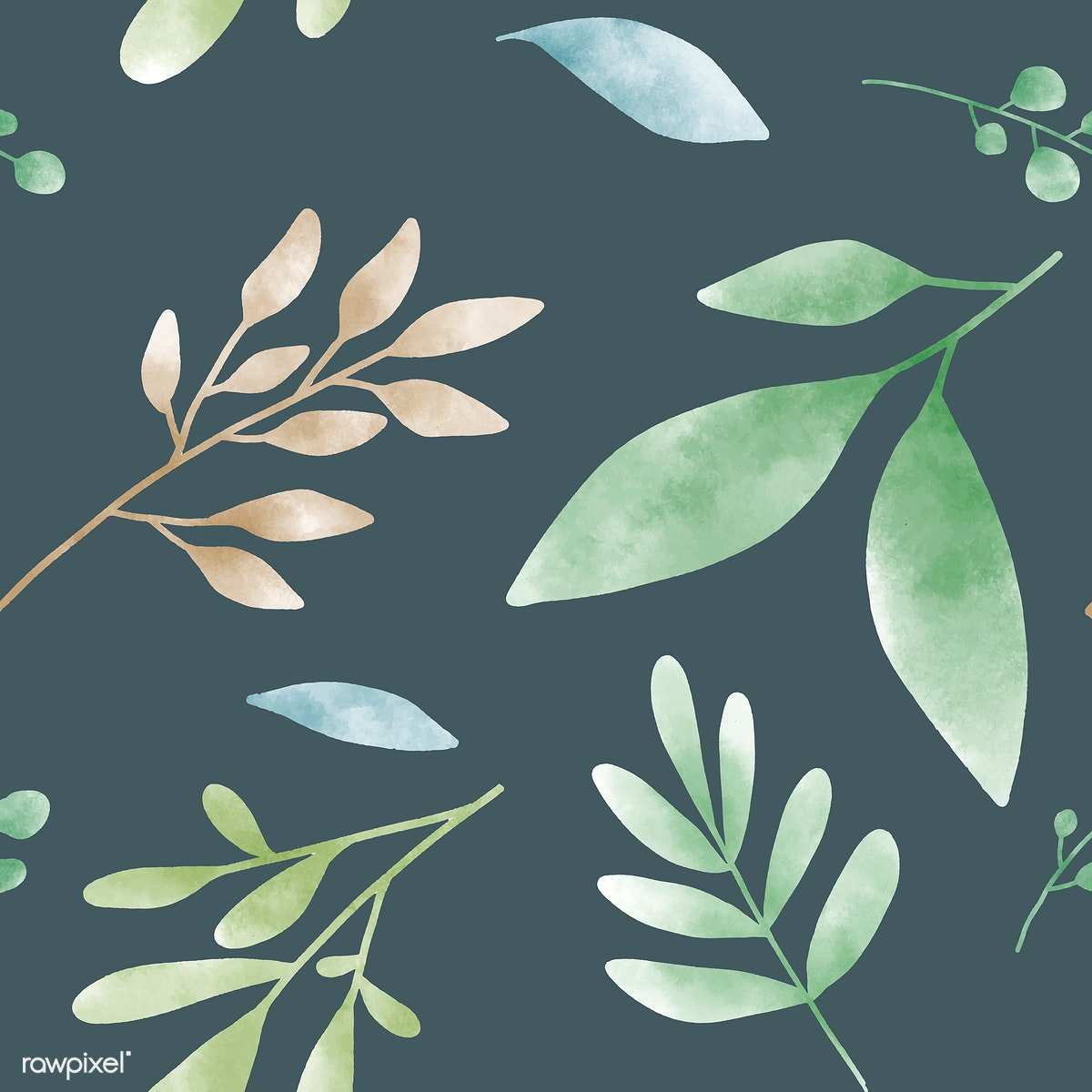9c5e183935a3 Download premium vector of Watercolor leaves graphic pattern design 532602