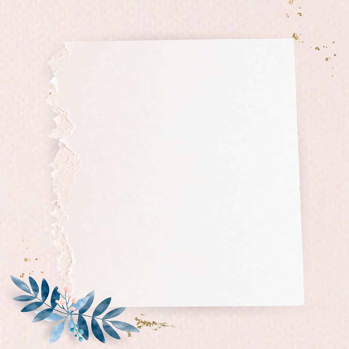 Leafy paper square frame vector