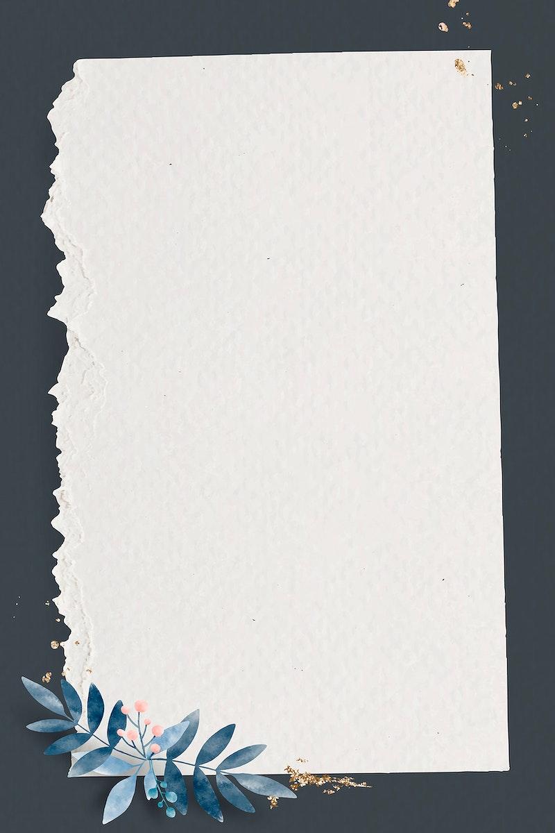 Leafy paper rectangle frame vector