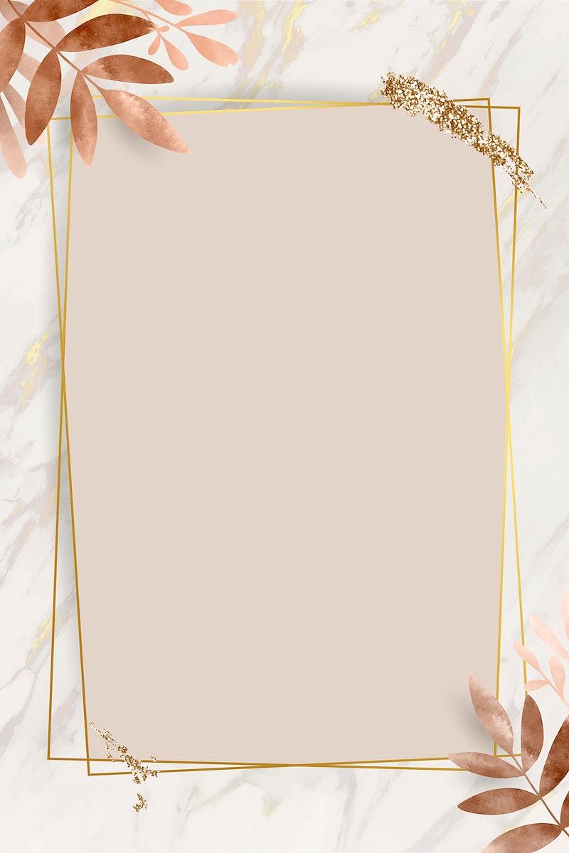 Leafy golden rectangle frame vector