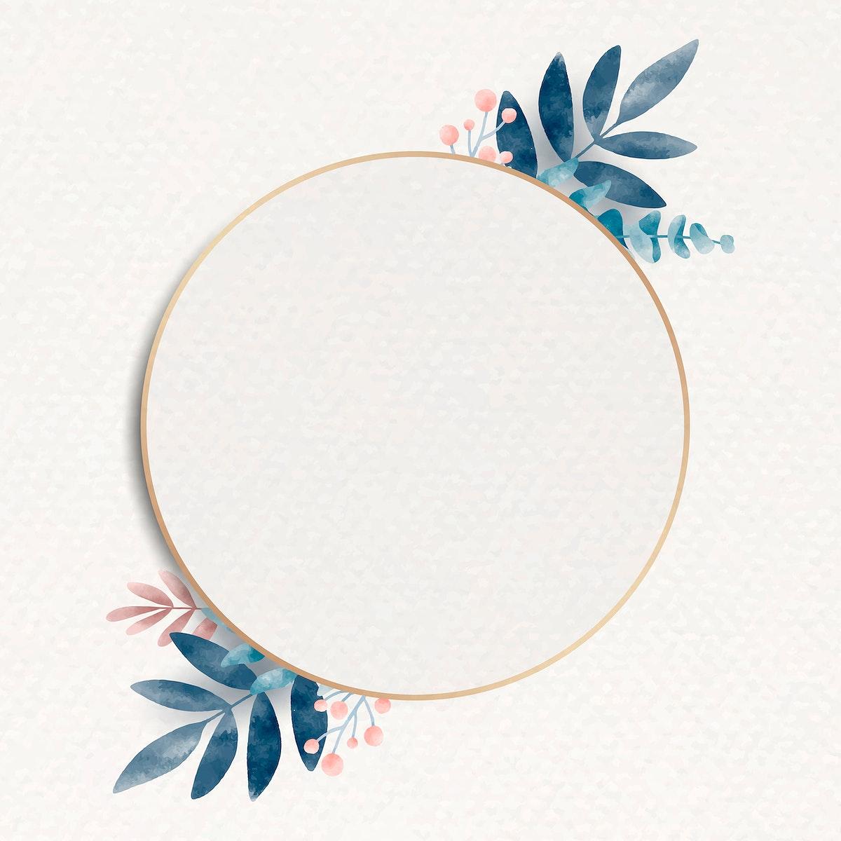 Blank round leafy frame vector