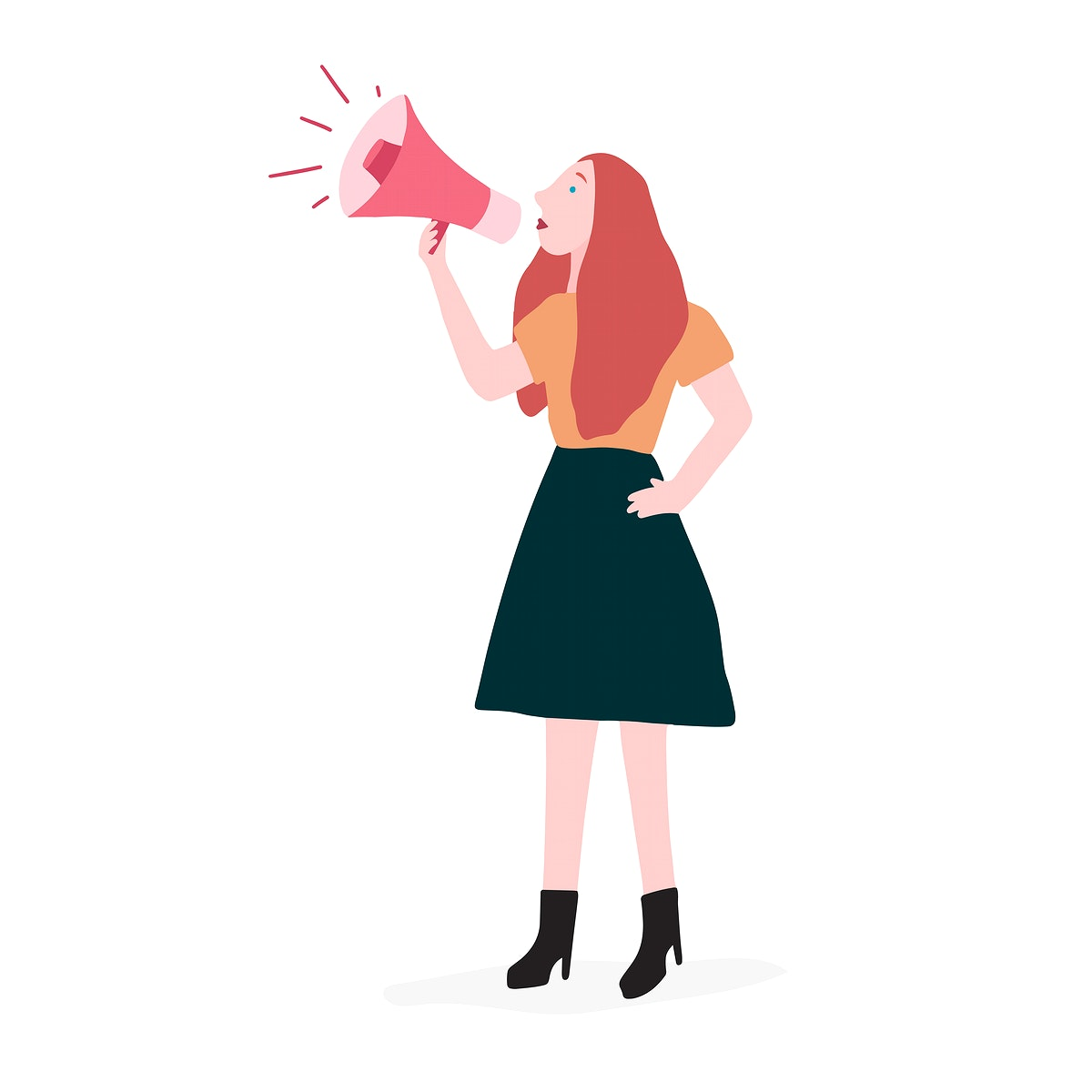 Strong woman shouting out her message vector