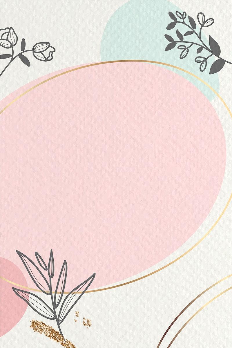Oval golden floral frame vector