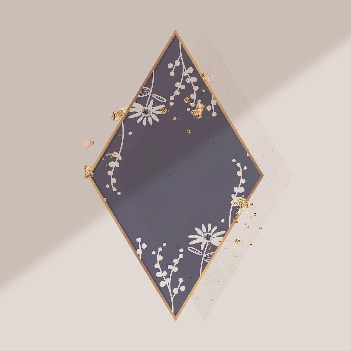 Golden floral rhombus frame vector