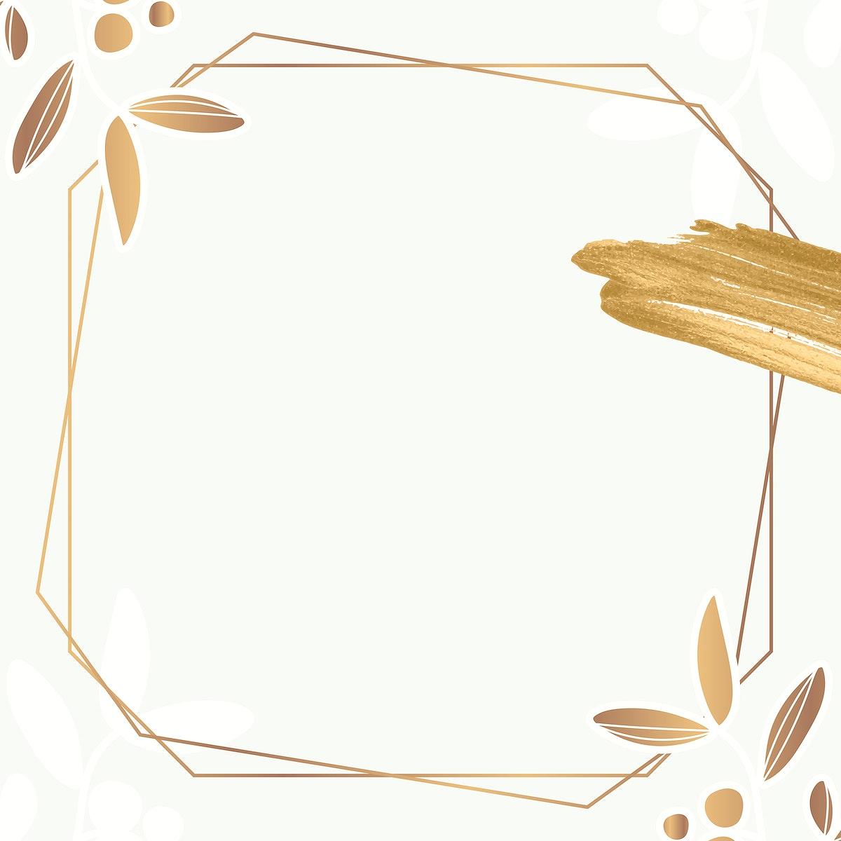 Golden floral hexagon frame vector