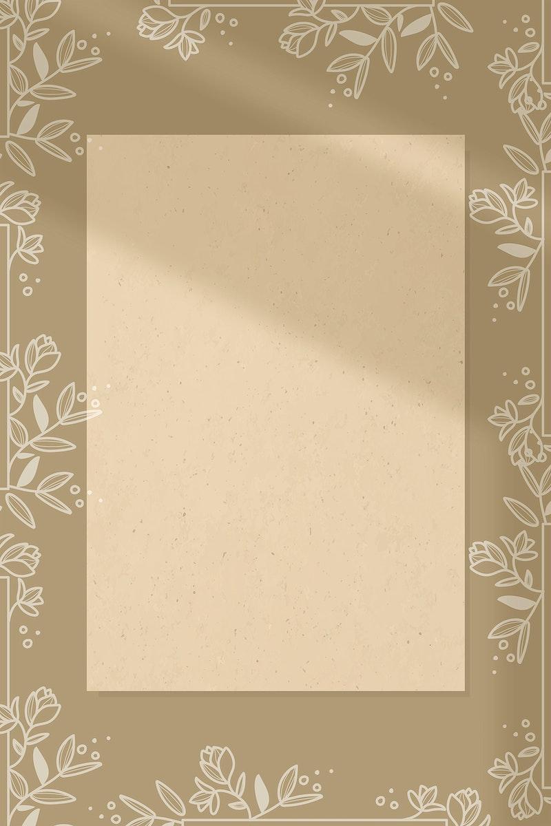 Beige rectangle floral frame vector