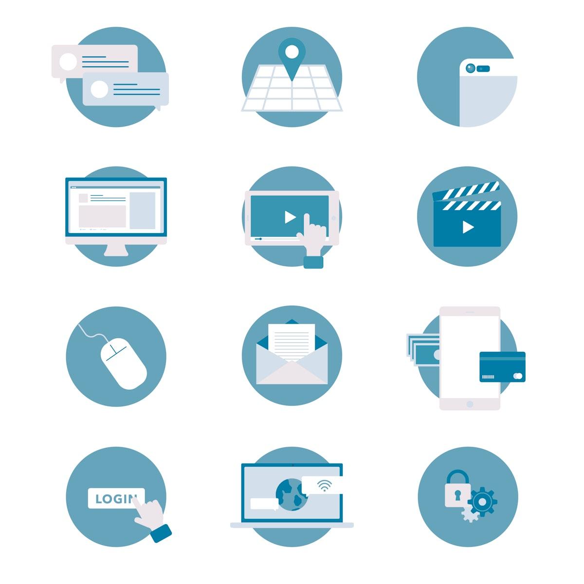 Vector set of social media icons