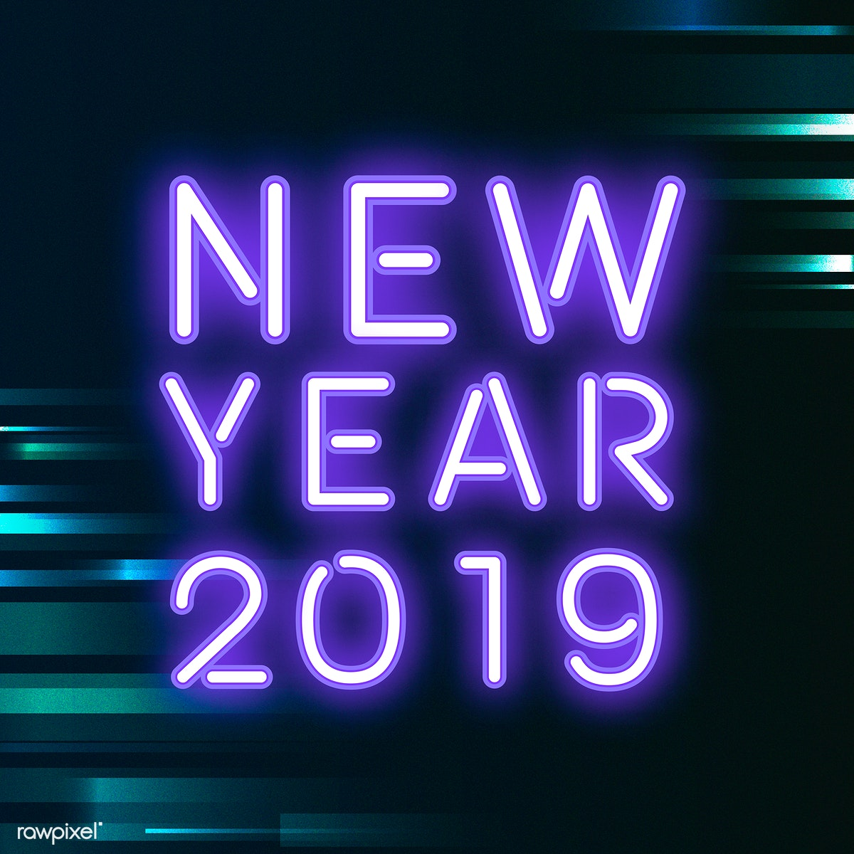 Purple new year 2019 neon sign vector | Free stock