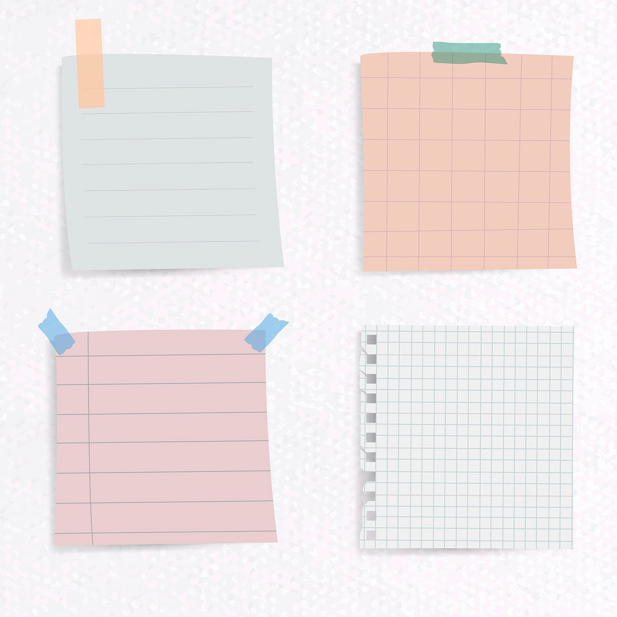 Set of notepaper on textured paper background