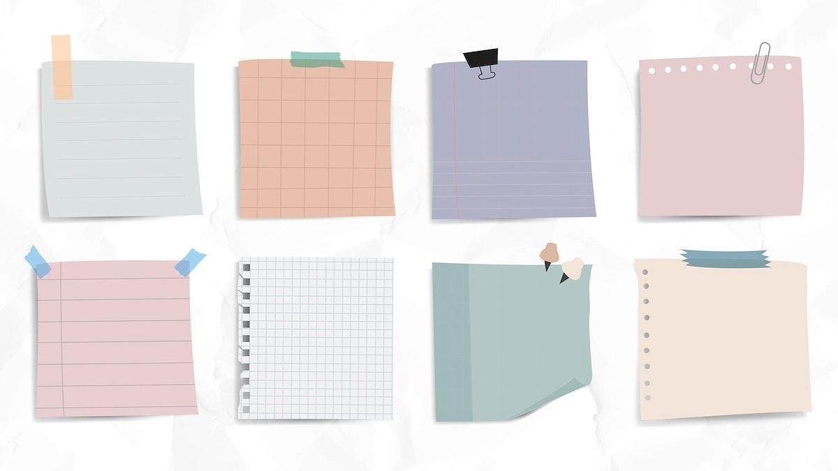 Set of notepaper on wrinkled paper background vector