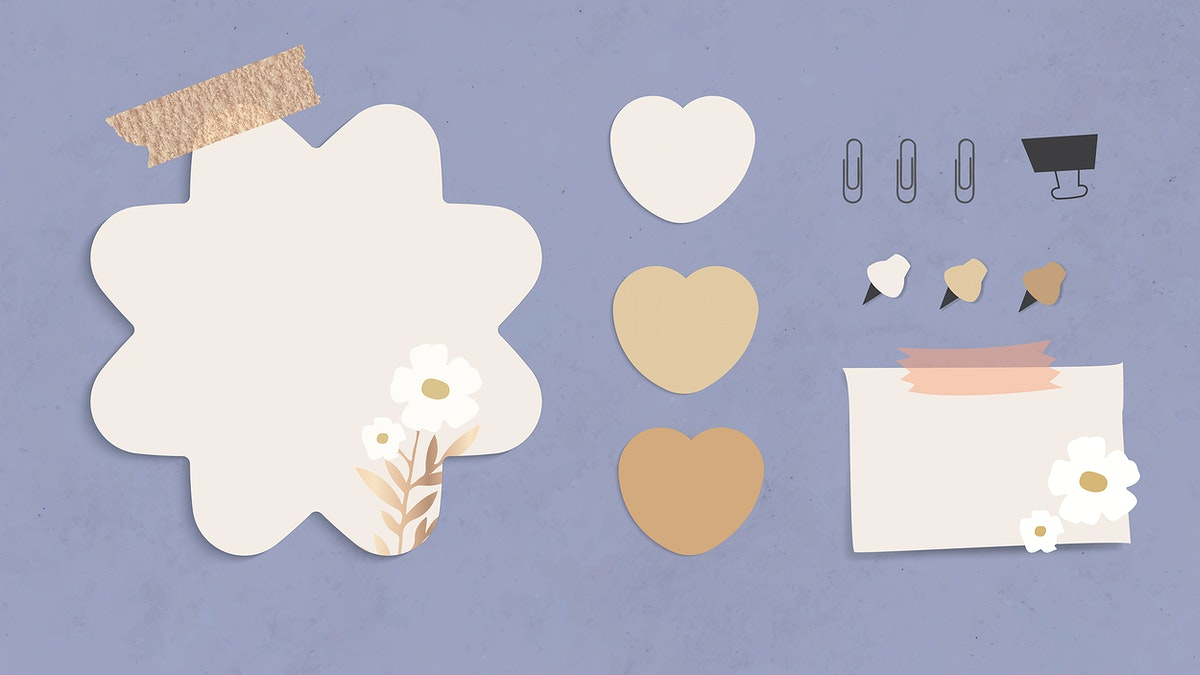 Blank flower shape notepaper with paper clips, binder clip and pins on textured paper background vector