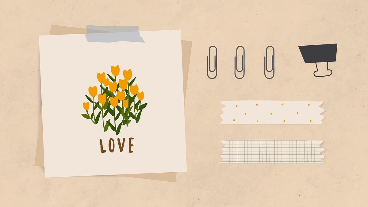 Love word message and flowers on notepaper with paper clips, binder clip and washi tape on light brown textured paper…
