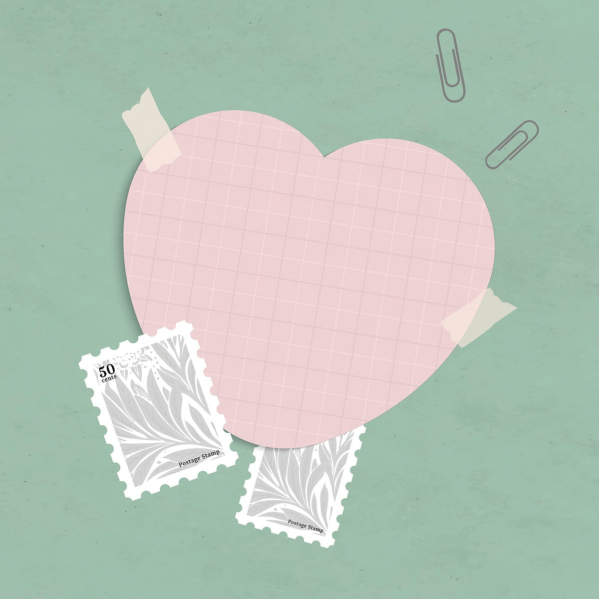 Blank heart shape notepaper set with sticky tape on textured background vector