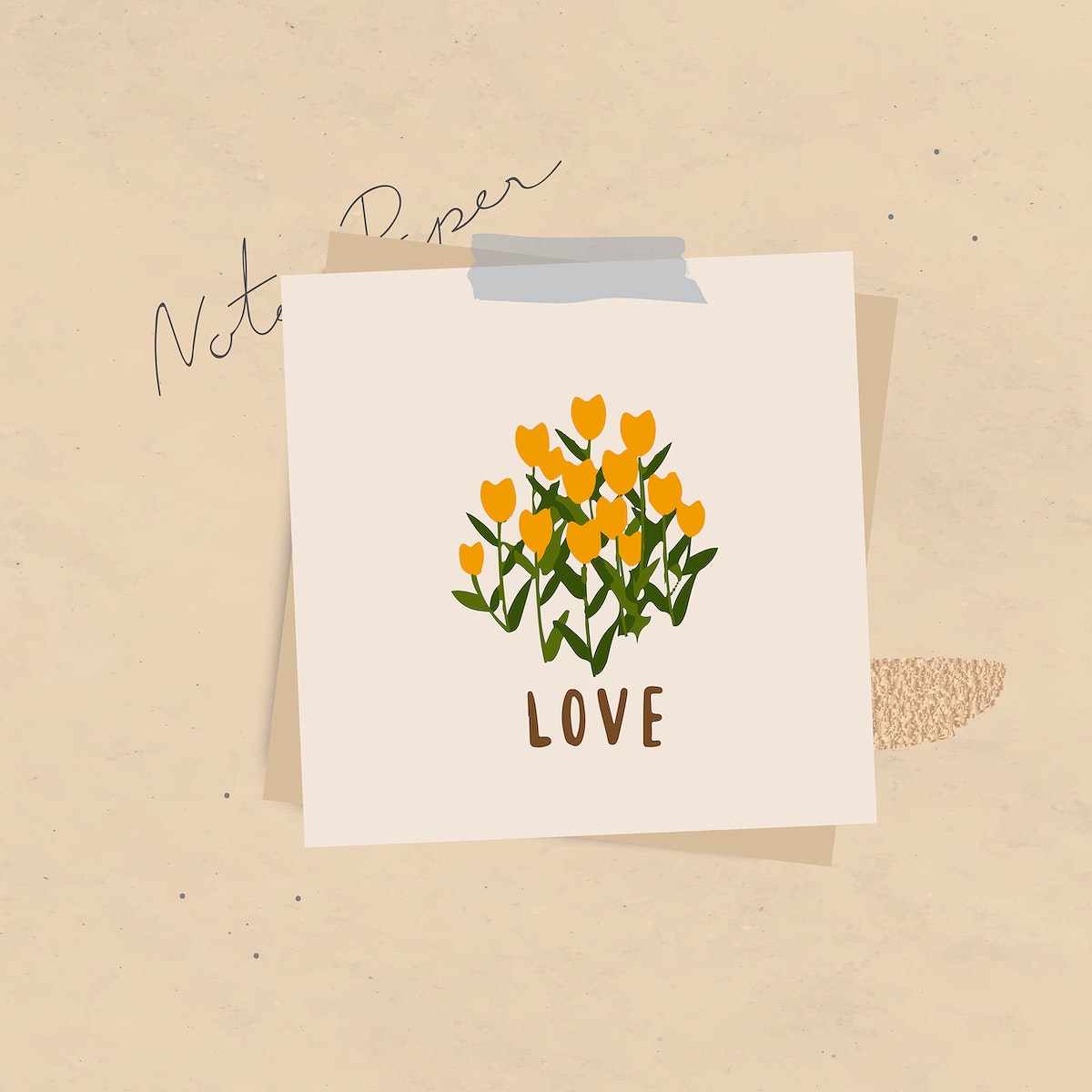 Love word message and flowers on notepaper set with sticky tape on textured background vector