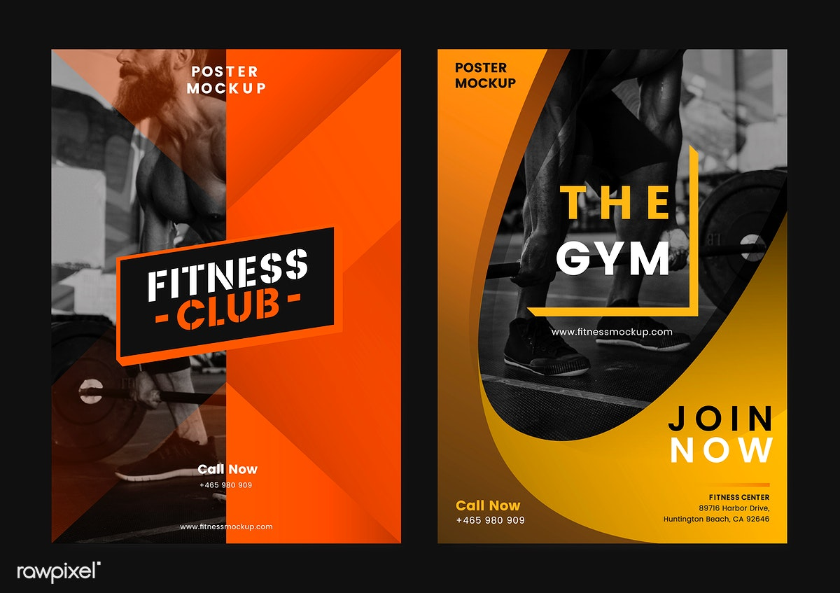 Set of fitness club posters vector | Free stock illustration