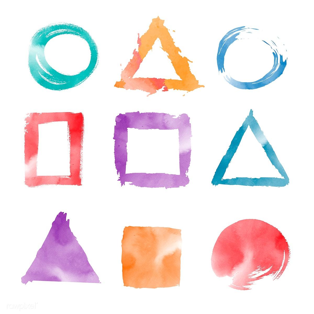 Download premium illustration of Watercolor geometric shapes vector set