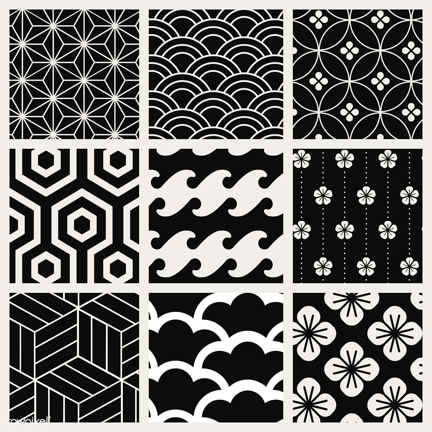 Japanese Inspired Pattern Vector Set Royalty Free Vector 535460